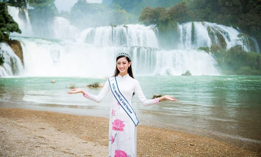 Hoa hậu Lương Thuỳ Linh thả dáng giữa chốn bồng lai tiên cảnh của Cao Bằng-10
