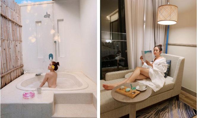 """Du lịch kiểu hơi mệt"""" của Thúy Vi: ở trong resort cả ngày, thay chục bộ bikini bên bể bơi, tìm mỏi mắt không thấy ảnh đi ra ngoài!-4"""