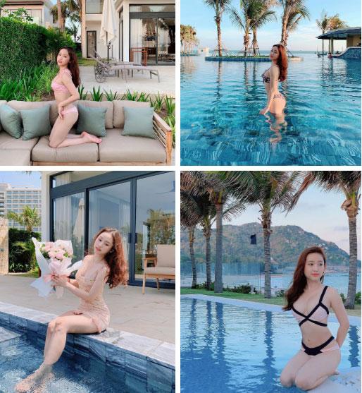 """Du lịch kiểu hơi mệt"""" của Thúy Vi: ở trong resort cả ngày, thay chục bộ bikini bên bể bơi, tìm mỏi mắt không thấy ảnh đi ra ngoài!-7"""