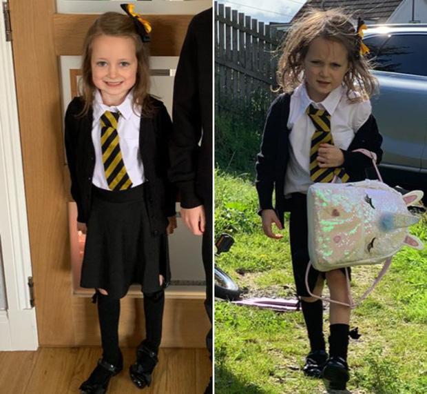 Trở về nhà sau buổi học đầu tiên với bộ dạng tã tượi thê thảm, cô bé 5 tuổi khiến dân mạng bật cười nhớ lại tuổi thơ-1