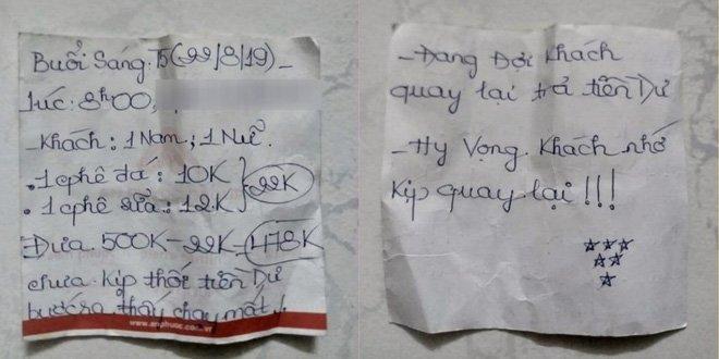 Quên lấy gần 500.000 đồng tiền thừa, chàng shipper ngỡ ngàng khi đọc được mảnh giấy chủ quán để lại-3