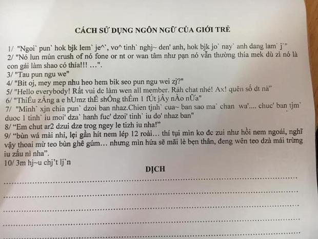 Xuất hiện đề kiểm tra cách sử dụng ngôn ngữ của giới trẻ: Học sinh than trời tiếng Việt mà cứ ngỡ tiếng nước ngoài!-1