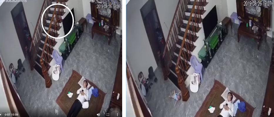 Clip: Ông bố ngủ say, bé trai vịn cầu thang bò xuống không may ngã nhào-1