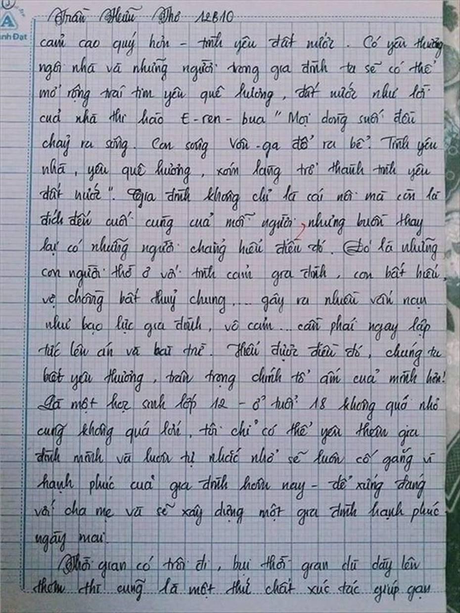 Nam sinh gây sốt với bài văn dài 18 trang, cô giáo đọc xong không biết phải phê gì vì quá xuất sắc!-18