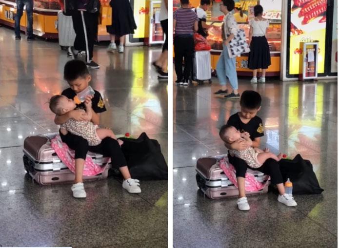 Một mình trông em khi không có mẹ, cậu bé nhỏ xíu bất ngờ có hành động ngọt lịm khiến dân mạng thả tim rần rần-3