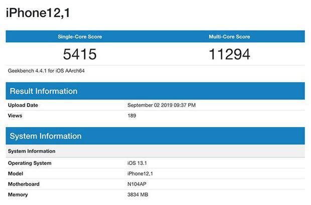 iPhone 11 lộ điểm sức mạnh cấu hình, xác nhận RAM 4GB và chip xử lý 6 nhân-2