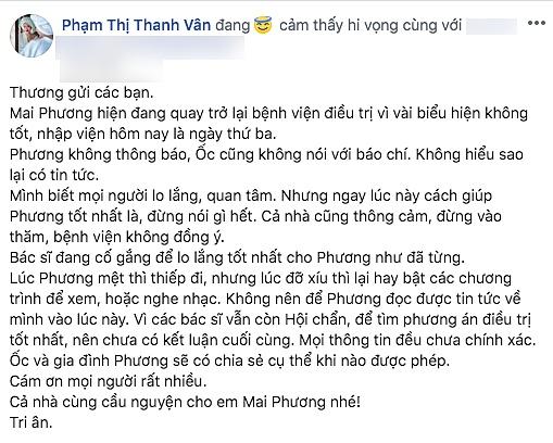 """Ốc Thanh Vân thông báo sức khoẻ của Mai Phương: Lúc mệt thì thiếp đi""""-2"""