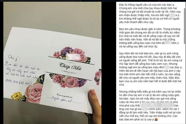 Yêu 4 năm mới chia tay 2 tháng đã được người yêu cũ mời đi ăn cưới, nhưng sốc hơn cả là dòng tâm tình nhắn gửi sau mặt thiếp-1