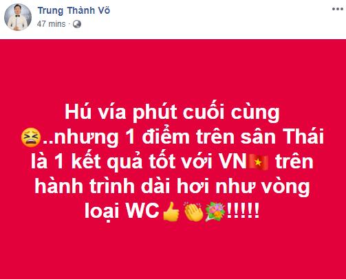 Phản ứng bất ngờ của sao Việt trước kết quả giữa đội tuyển Việt Nam và Thái Lan ở trận mở màn vòng loại World Cup-2