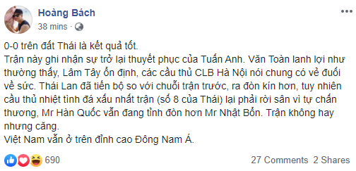 Phản ứng bất ngờ của sao Việt trước kết quả giữa đội tuyển Việt Nam và Thái Lan ở trận mở màn vòng loại World Cup-3