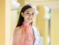 Á hậu Tường San xinh đẹp rạng rỡ khi mặc áo dài hồng do mẹ tự thiết kế