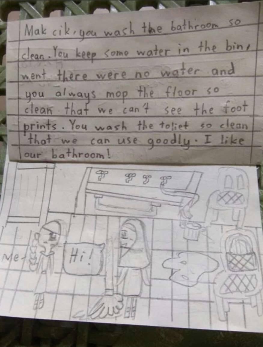 Xúc động bức thư cảm ơn nữ lao công trường học của bé gái 9 tuổi-1