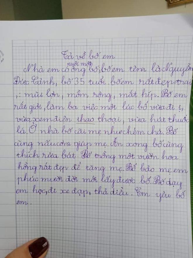Bài văn của cô bé tiểu học: Nhà có nuôi một ông bố mồm rộng, mắt híp, cãi mẹ như chém chả-2