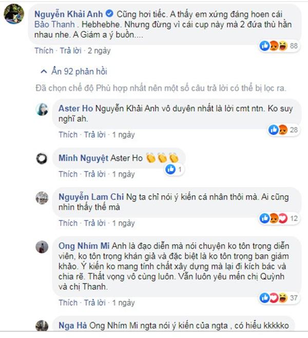 Đạo diễn Khải Anh bị fan của Bảo Thanh tấn công vì phát ngôn bênh Thu Quỳnh-2