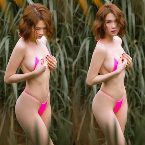 Hết dùng hoa làm nội y, Ngọc Trinh lại khiến dân tình dậy sóng vì diện bikini siêu nhỏ-1