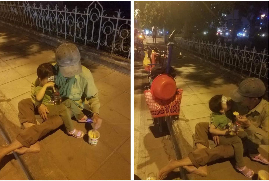 Hình ảnh người đàn ông lấm lem ngồi bên vỉa hè đút cháo cho con nhỏ và câu chuyện không thể ngờ phía sau-2