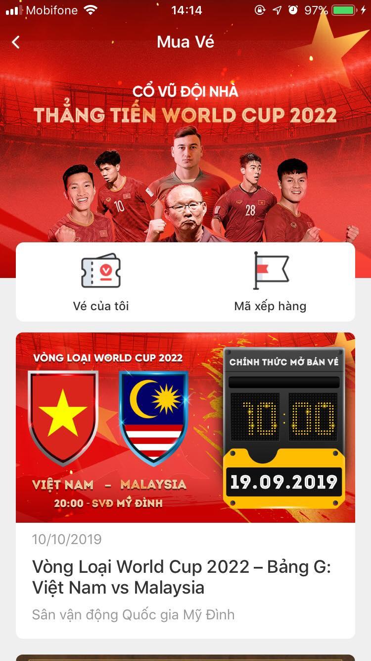 Hướng dẫn chi tiết cách mua vé online trận ĐT Việt Nam vs Malaysia từ 10h sáng mai-2