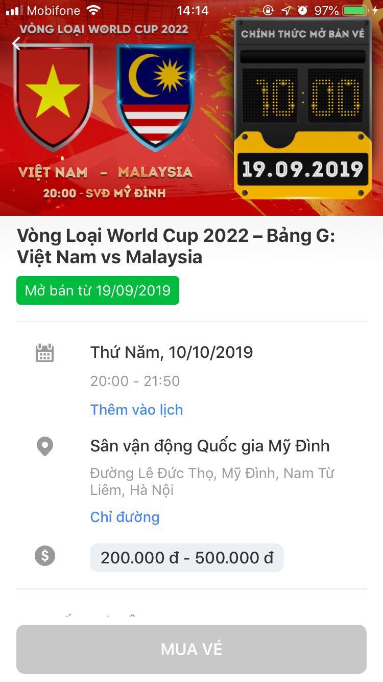 Hướng dẫn chi tiết cách mua vé online trận ĐT Việt Nam vs Malaysia từ 10h sáng mai-3