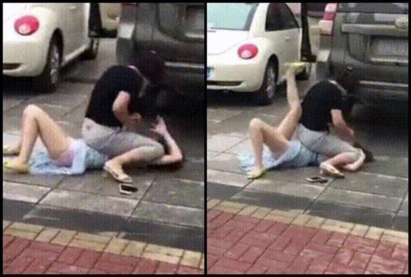 Bất ngờ gặp tiểu tam đi trên đường, vợ lao vào đánh ghen khiến dân mạng khiếp sợ-3
