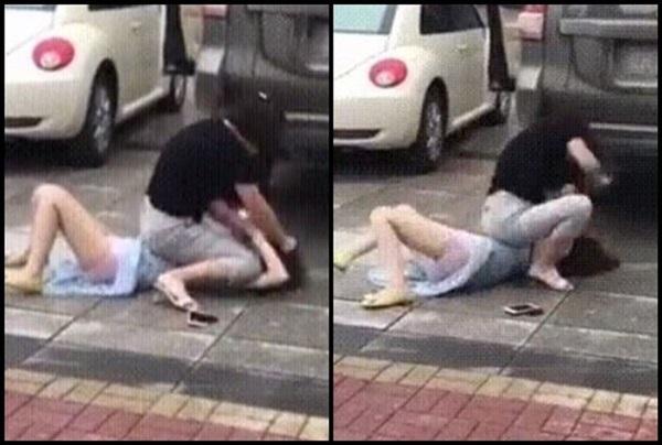 Bất ngờ gặp tiểu tam đi trên đường, vợ lao vào đánh ghen khiến dân mạng khiếp sợ-4