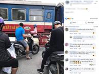 Hình ảnh cô gái chui qua rào chắn trong lúc đoàn tàu đang chạy để di chuyển khiến cư dân mạng hốt hoảng