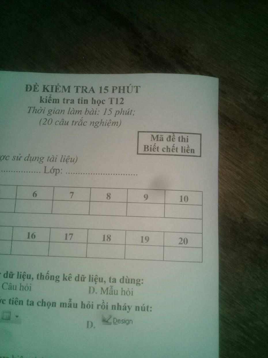 Cách đặt mã đề kiểm tra một tiết bá đạo của giáo viên dạy Tiếng Anh: Giữ chút liêm sỉ đi, hỏi han gì tầm này nữa!-2