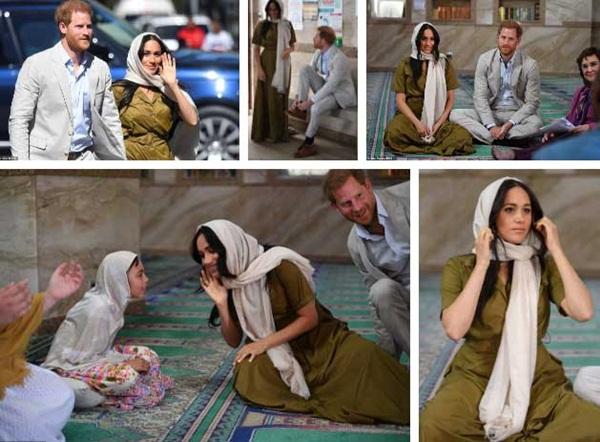 Meghan Markle bị chê kém tinh tế, thua xa chị dâu Kate khi lần đầu tiên đội khăn trùm đầu theo kiểu Hồi giáo-1