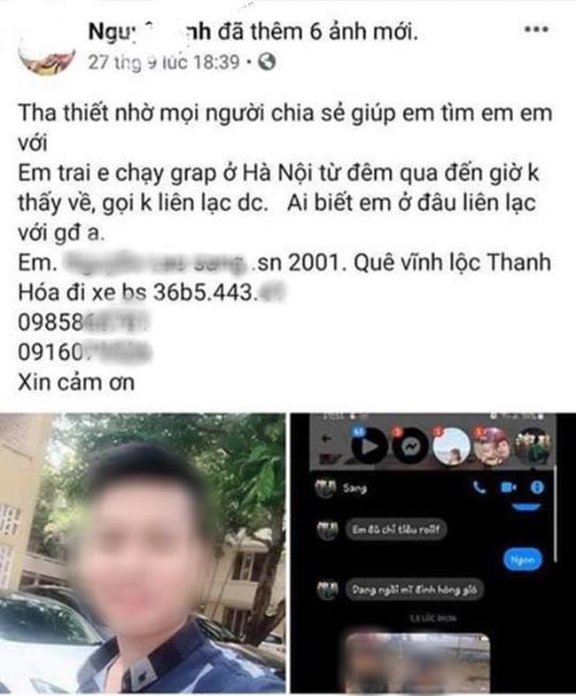 Xôn xao tin nhắn của tài xế xe ôm công nghệ nhờ chị gái trước khi mất tích: Có gì báo công an nhé-1