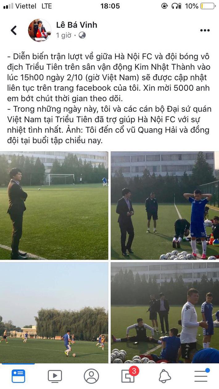 Đại sứ Việt Nam tại Triều Tiên làm điều chưa từng có cho trận đấu lịch sử của Hà Nội FC-2