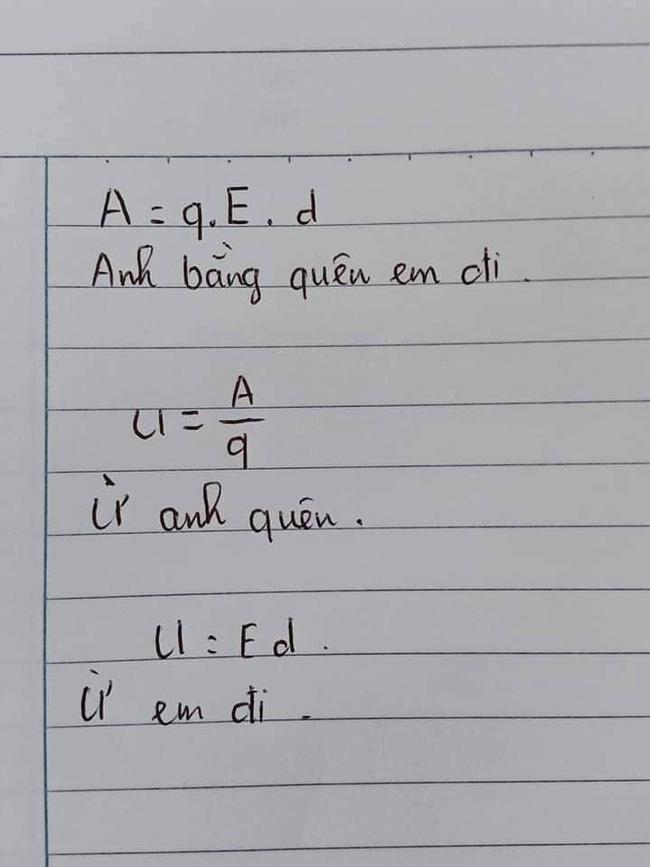 Cười bò với cách ghi nhớ công thức vật lý, phải công nhận học sinh thời nay quá sáng tạo-1