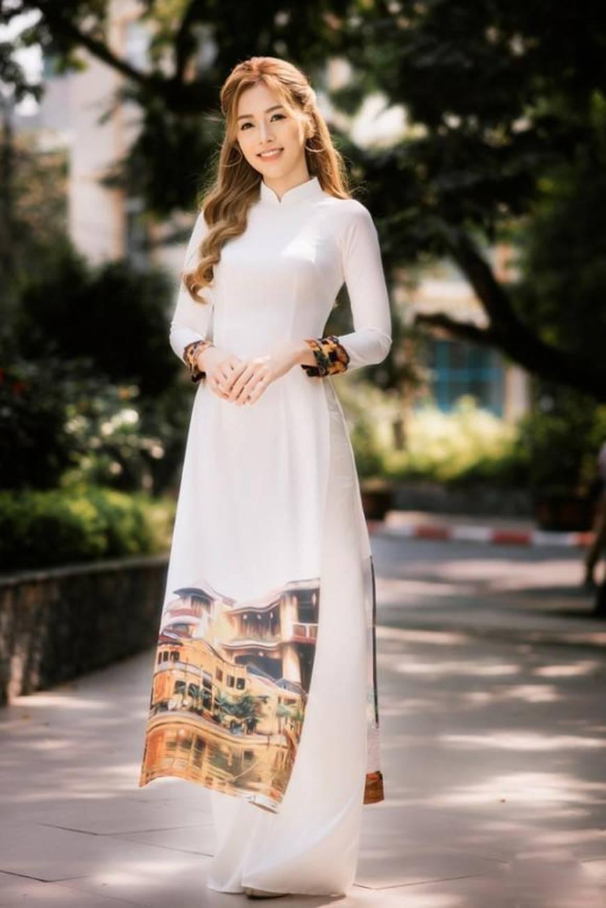 Á hậu Phương Nga đẹp lụi tim khi diện áo dài trắng chụp ảnh kỷ yếu-2