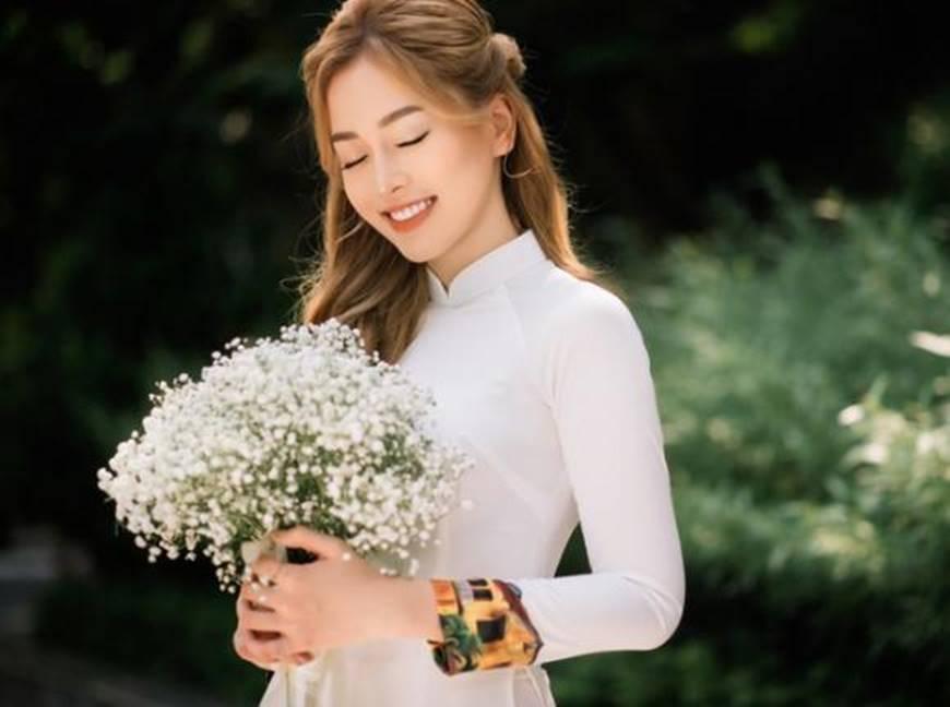 Á hậu Phương Nga đẹp lụi tim khi diện áo dài trắng chụp ảnh kỷ yếu-5