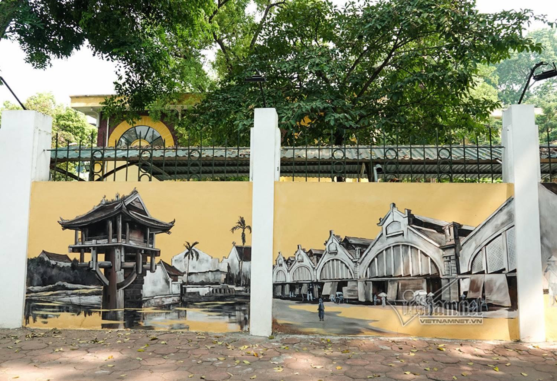 Hà Nội xưa đẹp lạ qua tranh bích họa trên phố-14
