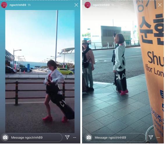 Lỡ mặc đồ phong phanh đi Hàn Quốc, Ngọc Trinh phải quấn chăn chạy quanh sân bay cho đỡ lạnh và danh tính chiếc chăn cũng gây tò mò-4
