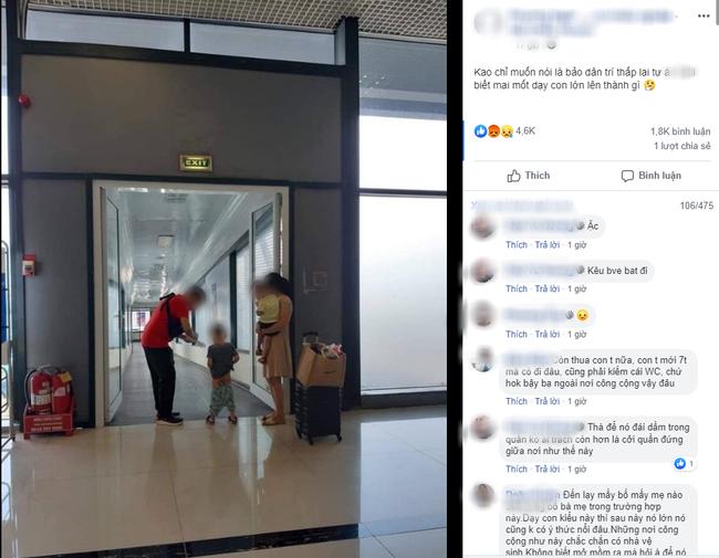Xôn xao hình ảnh vợ chồng trẻ thản nhiên cho con đi tiểu ngay giữa lối đi tại sân bay-1