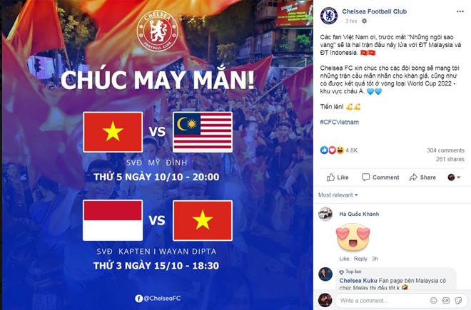 CĐV vui mừng khi Chelsea chúc tuyển Việt Nam chiến thắng-1