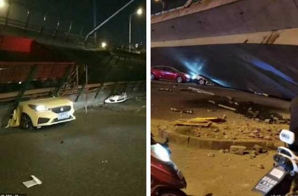 Khoảnh khắc cầu vượt cao tốc ở Trung Quốc sập trong tíc tắc, nghiền nát 3 xe ô tô-2