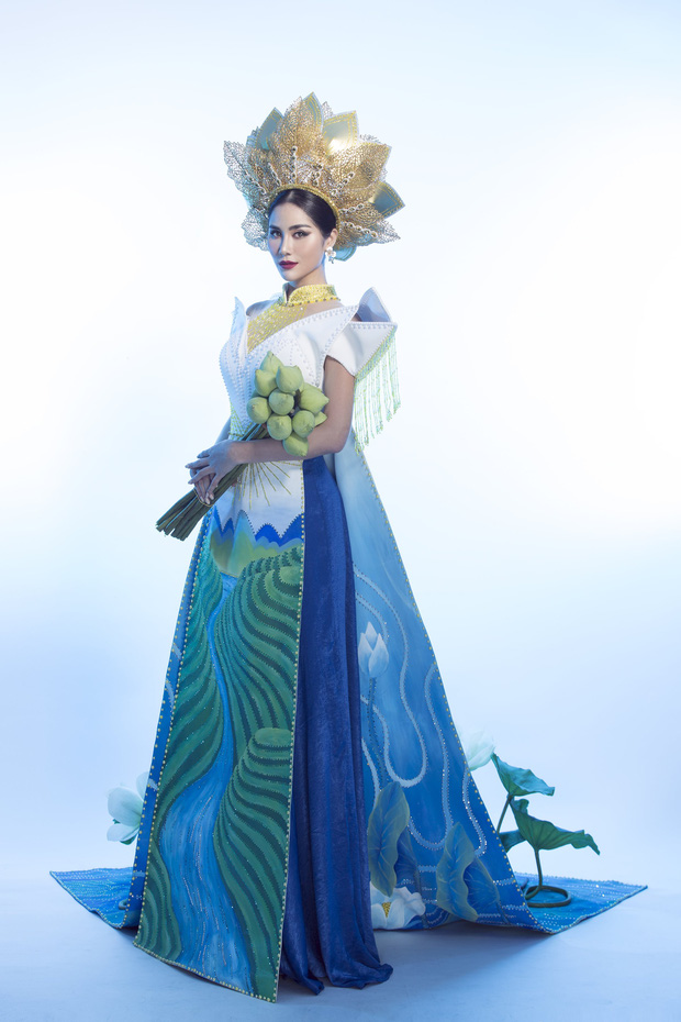 Ấn tượng với quốc phục mang cả hồ sen, đính kết 5000 viên pha lê mỹ nhân Việt chọn mang đến Hoa hậu Trái đất-1
