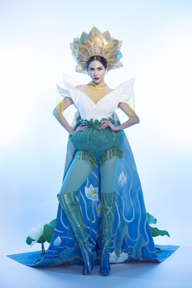 Ấn tượng với quốc phục mang cả hồ sen, đính kết 5000 viên pha lê mỹ nhân Việt chọn mang đến Hoa hậu Trái đất-3