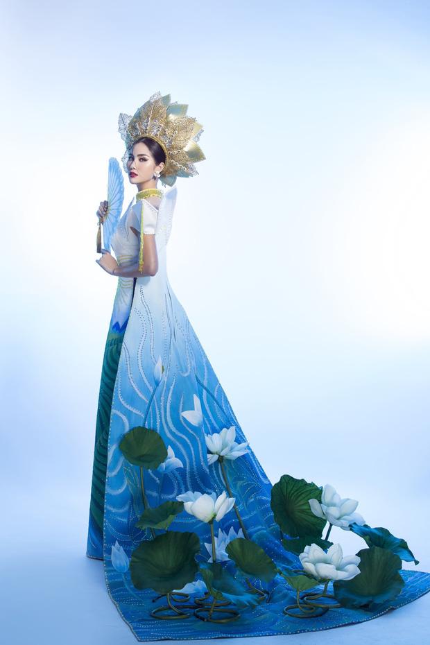 Ấn tượng với quốc phục mang cả hồ sen, đính kết 5000 viên pha lê mỹ nhân Việt chọn mang đến Hoa hậu Trái đất-5