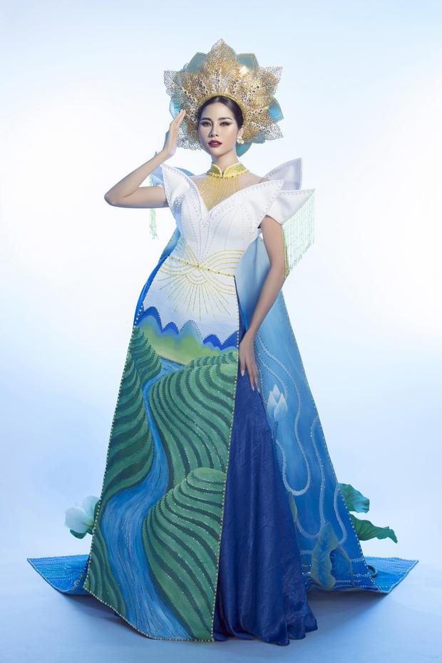 Ấn tượng với quốc phục mang cả hồ sen, đính kết 5000 viên pha lê mỹ nhân Việt chọn mang đến Hoa hậu Trái đất-6