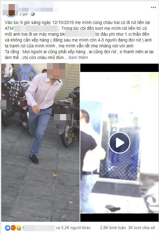 Bị nhắc khi chen ngang, không xếp hàng ở máy ATM, người đàn ông chửi, đánh một phụ nữ: Biết tao là ai không?-2