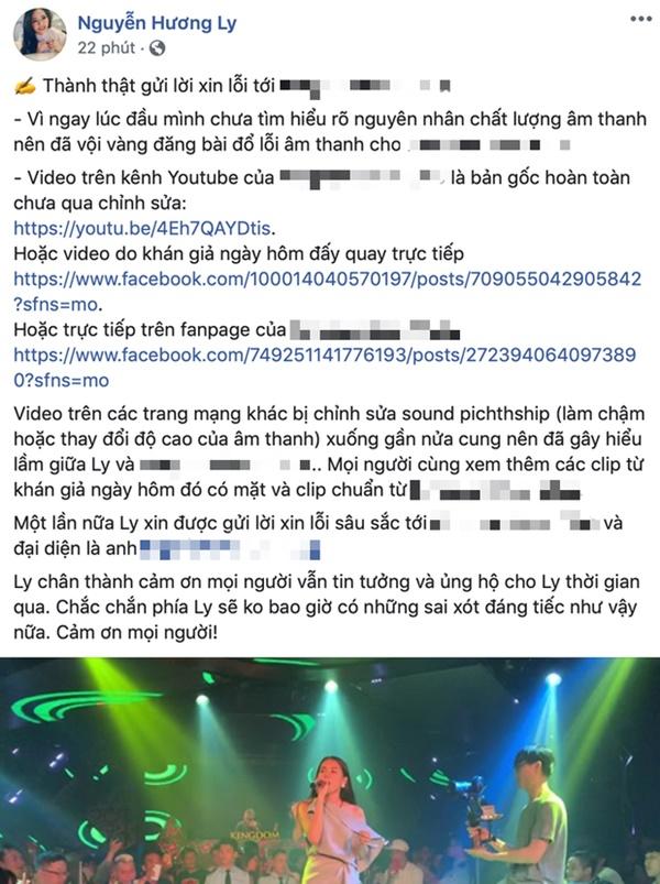 Hương Ly lên tiếng xin lỗi sau khi bị quản lý quán bar tố ăn cháo đá bát nhưng vẫn khẳng định video hát live của mình đã bị chỉnh sửa-1