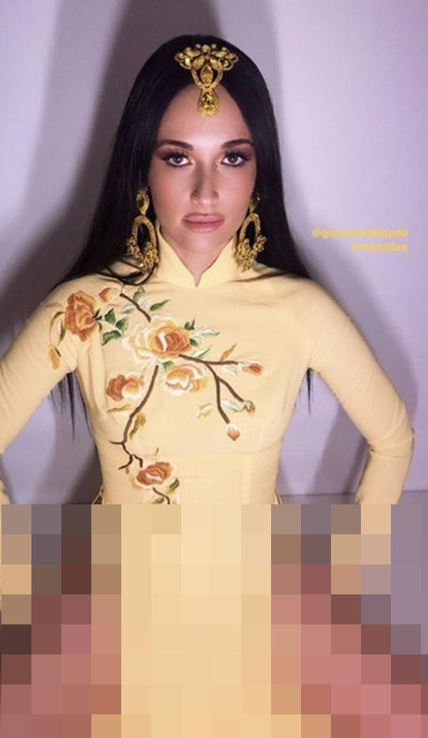 Nữ ca sĩ nhạc đồng quê Kacey Musgraves gây bức xúc khi mặc áo dài Việt Nam nhưng quên mặc quần-6