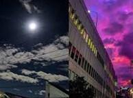 Trái ngược với bầu trời tím dự báo điềm dữ trước khi Hagibis đổ bộ, dân Nhật hứng khởi với cảnh quang đãng, trăng sáng rực lúc siêu bão đi qua