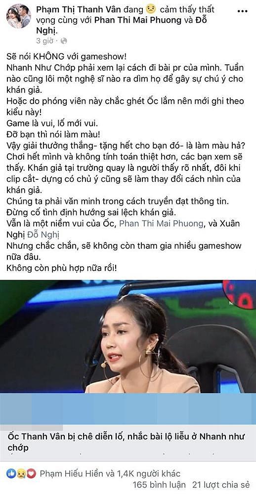 Ốc Thanh Vân uất ức tuyên bố không bao giờ chơi gameshow nữa: Dàn nghệ sĩ đồng loạt bức xúc-1