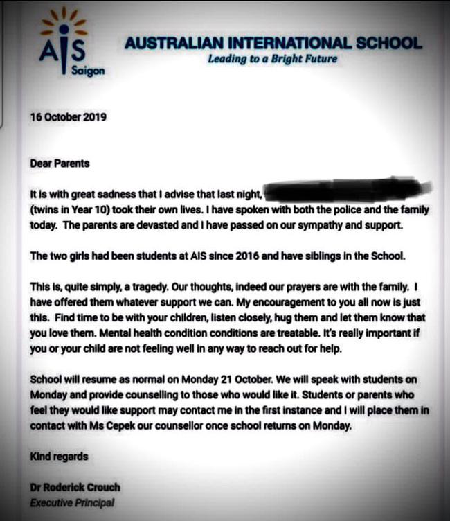 Hai chị em sinh đôi đang học ở trường quốc tế TP.HCM tự tử tại nhà riêng-2