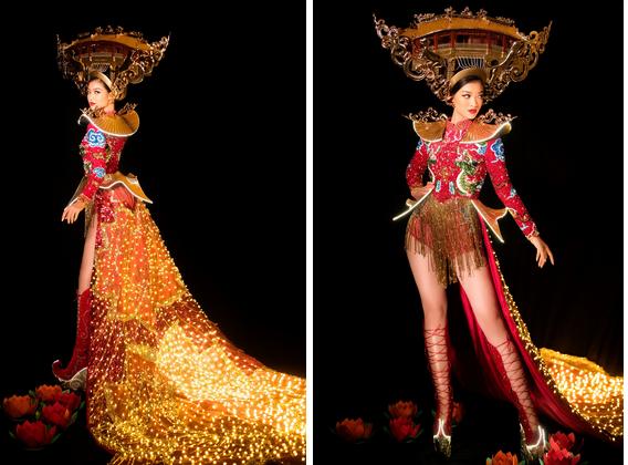 Kiều Loan mang Hội An đến Hoa hậu Hòa Bình, bật mí về chiếc váy được đính 2 nghìn bóng đèn và hơn 40 nghìn viên pha lê-2