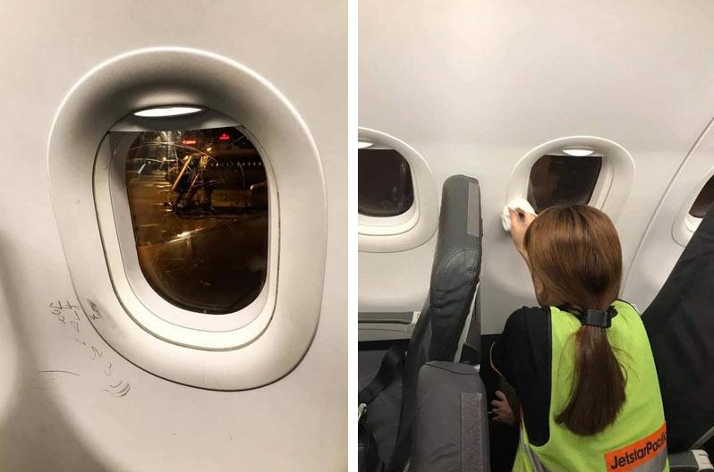 """Hình ảnh nét vẽ nguệch ngoạc, cào xước cửa kính máy bay khiến dân mạng rần rần chỉ trích về ý thức hành khách quái đản"""" này-2"""