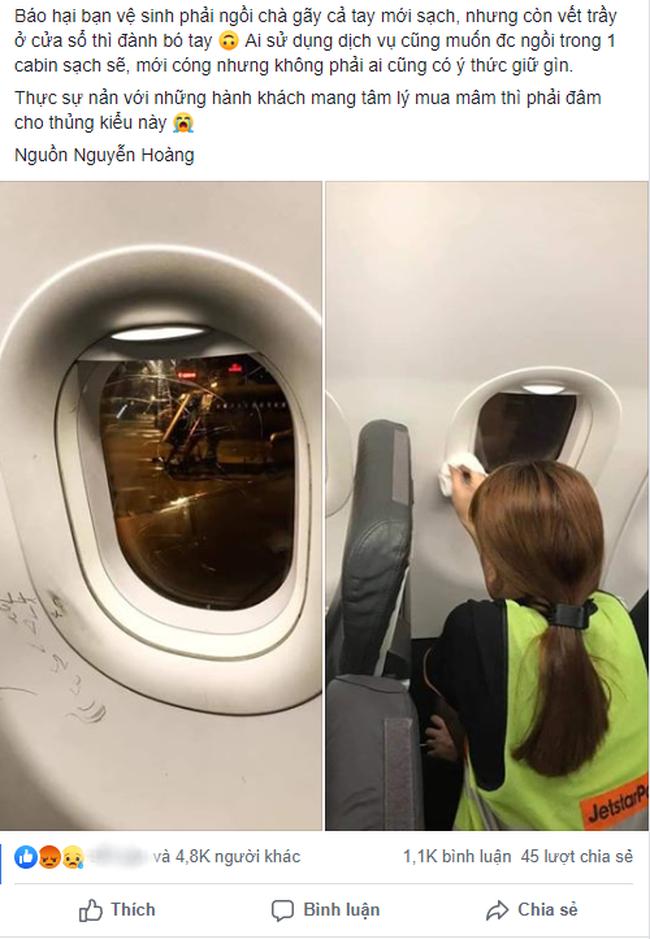 """Hình ảnh nét vẽ nguệch ngoạc, cào xước cửa kính máy bay khiến dân mạng rần rần chỉ trích về ý thức hành khách quái đản"""" này-1"""